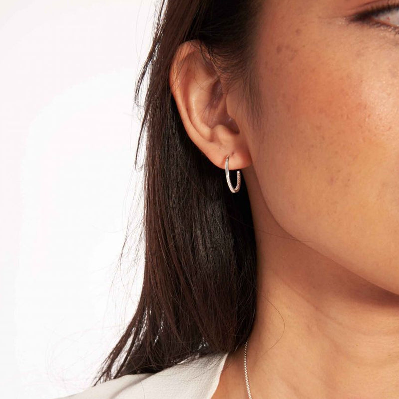 Joma Piper Pave Dipped Hoop Earrings In Silver