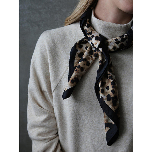 Jasper Square Scarf By Tutti & Co Brown and Black Autumn Winter
