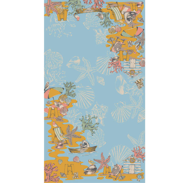 Summer Seaside Scene Printed Detailed Scarf from Powder