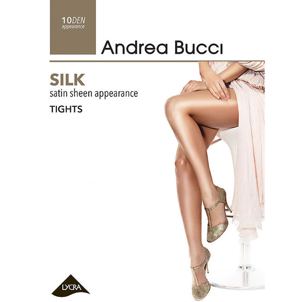 Andrea Bucci 10 Denier Silk Sheer Tights In Natural