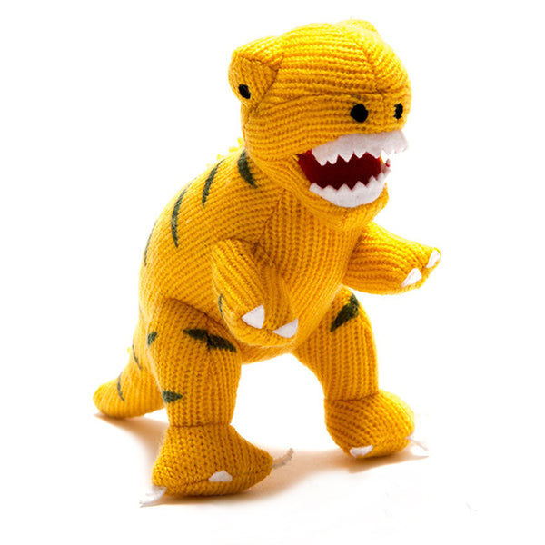 Knitted Mini T Rex Rattle In Yellow By Best Years