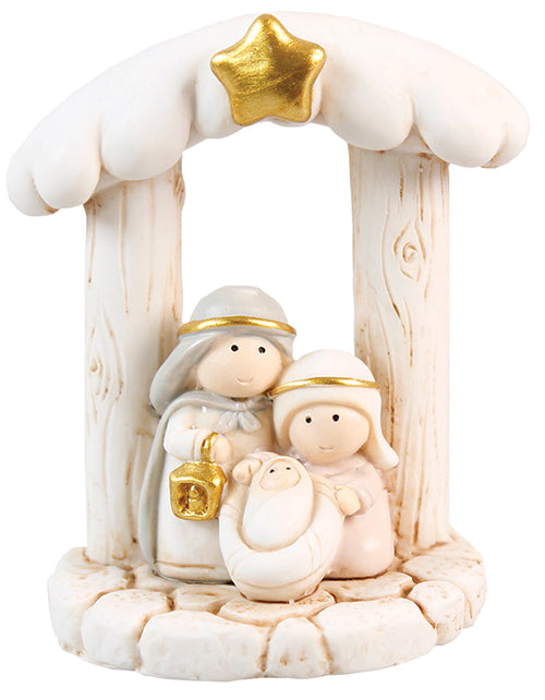 Resin Mini Holy Family With Manger Ornament