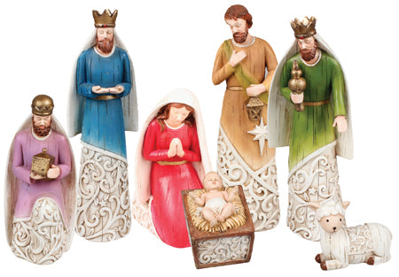 Colourful 7 Figure Nativity Set