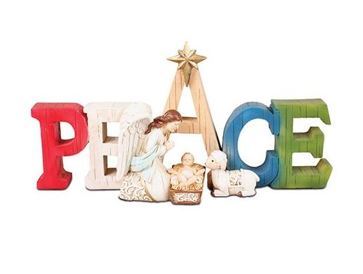 Resin 'Peace' Ornament