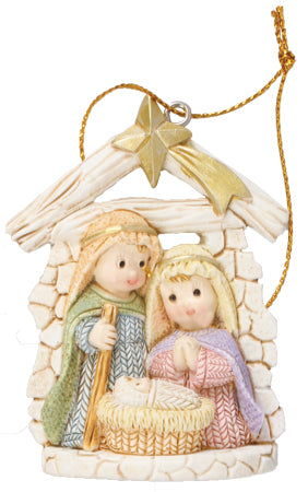 Knitted Effect Hanging Holy Family Ornament