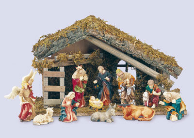 Traditional Nativity Scene with Stable