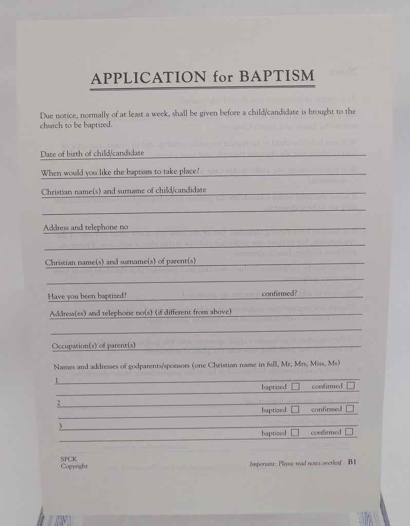 Baptism application forms