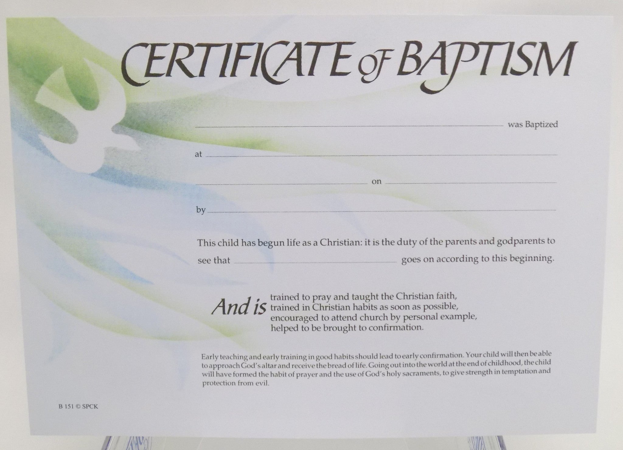 Baptism Certificate B151 Liverpool Cathedral