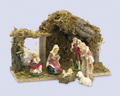 6 Piece Nativity Set with Shed