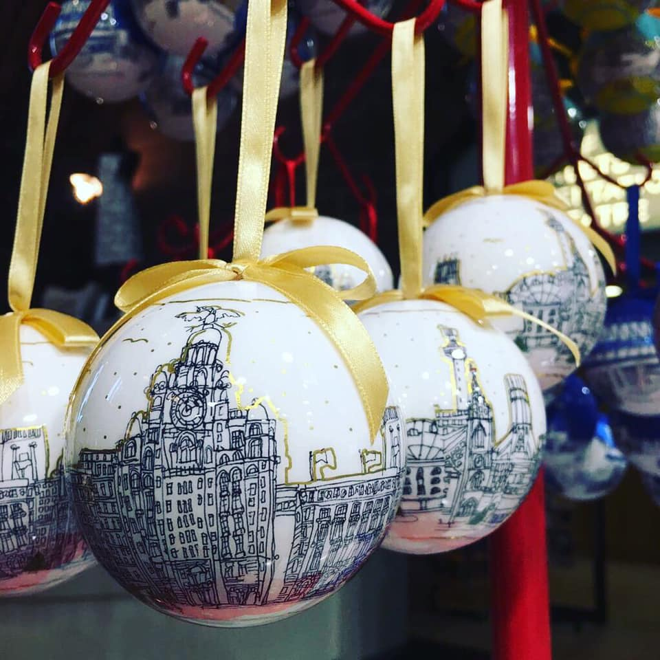 Liverpool Waterfront White Glitter Bauble 2019 - Freida McKitrick