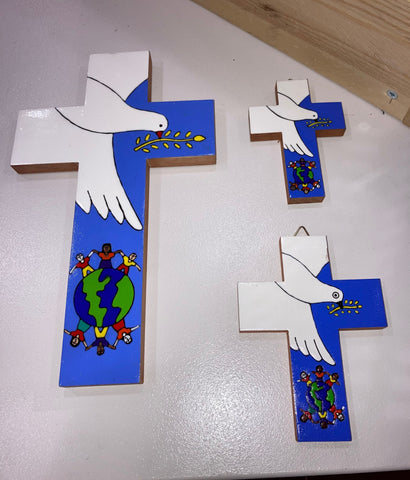Hand Painted, Fairly Traded, Dove of Peace Cross