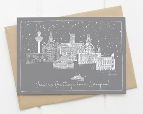 Liverpool Landmarks - Single Christmas Card