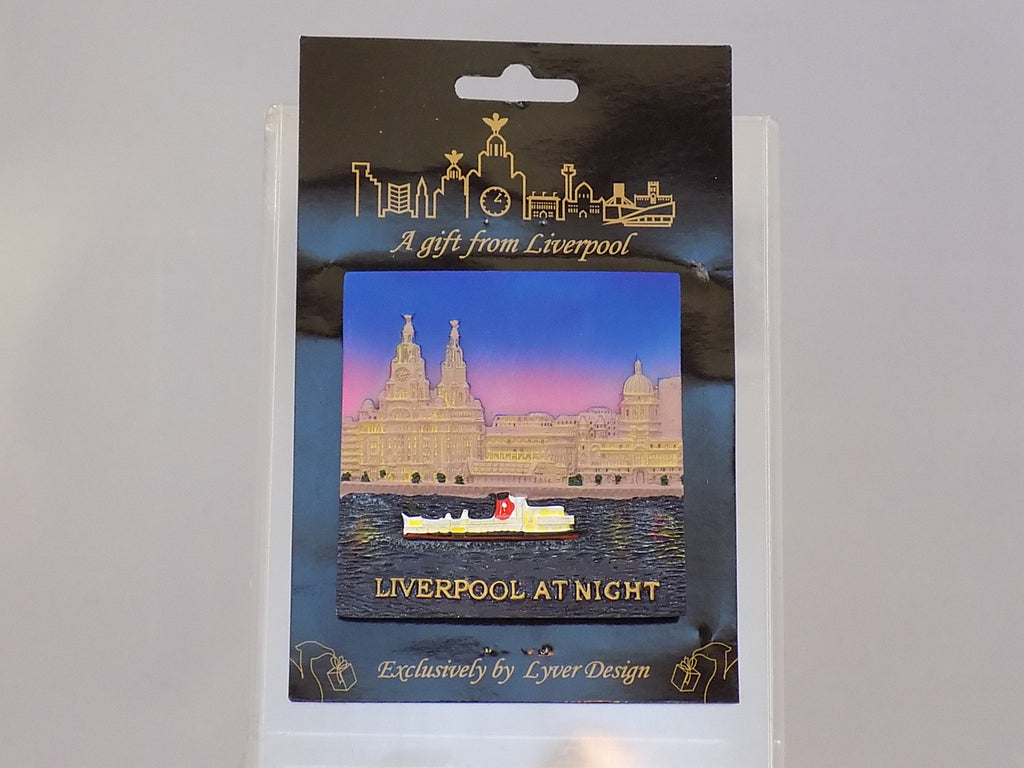 liverpool waterfront 3d fridge magnet - night