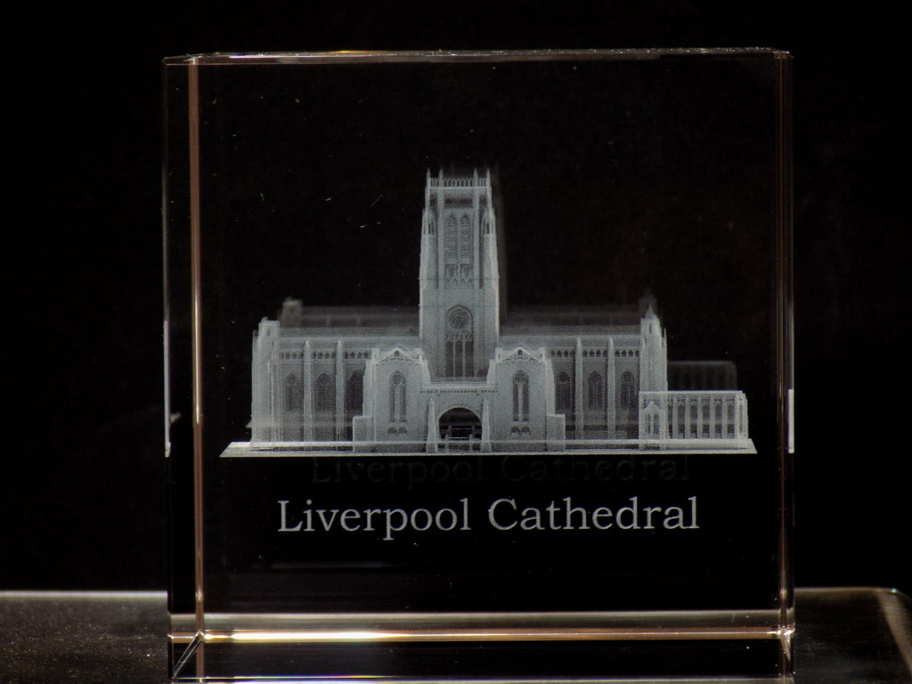 liverpool cathedral glass block - paperweight