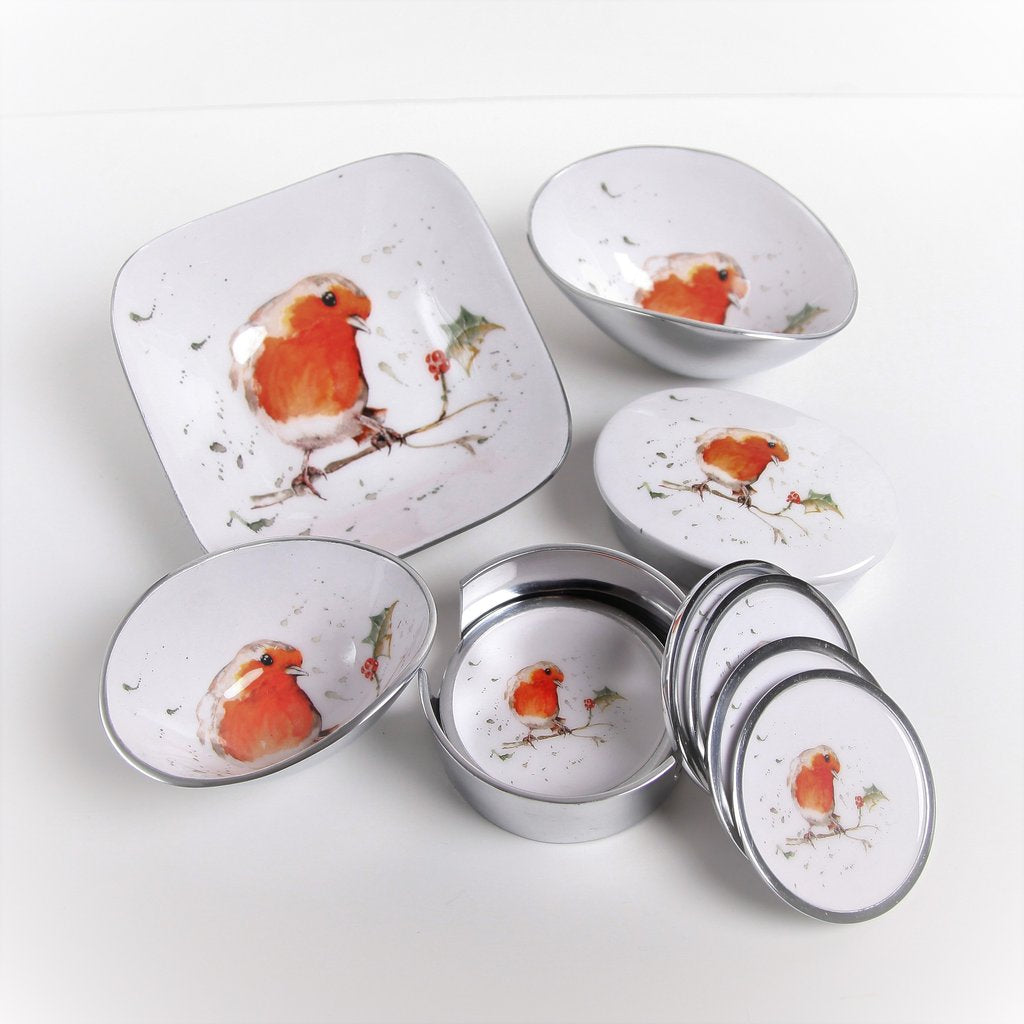 Azeti Robin & Holly Set of 6 Coasters