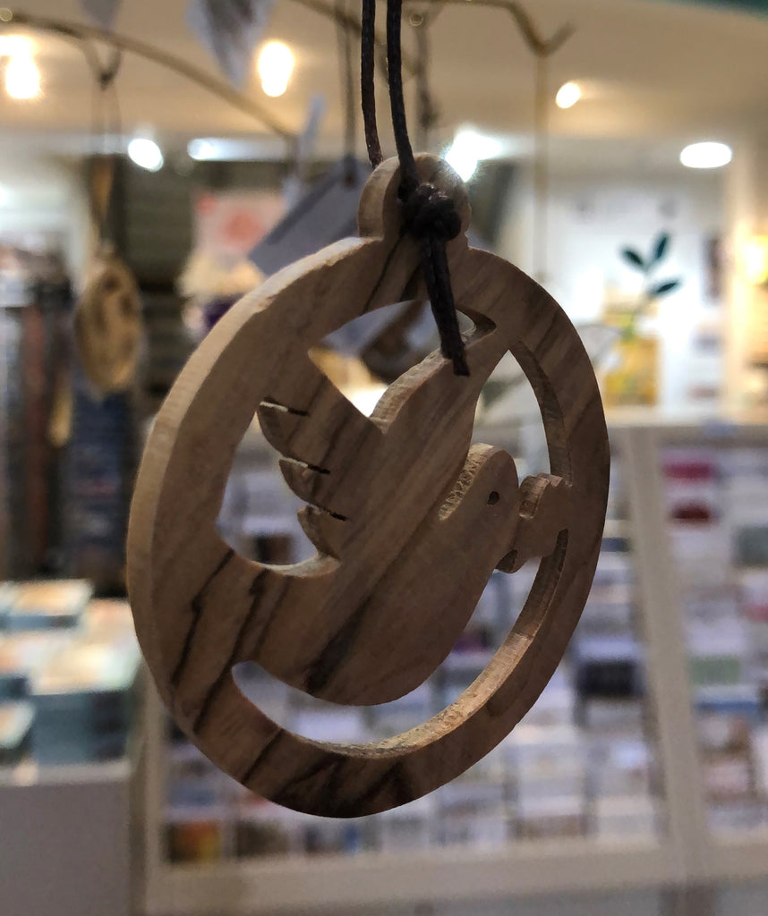 Hanging Olive Wood Peace Dove Decoration