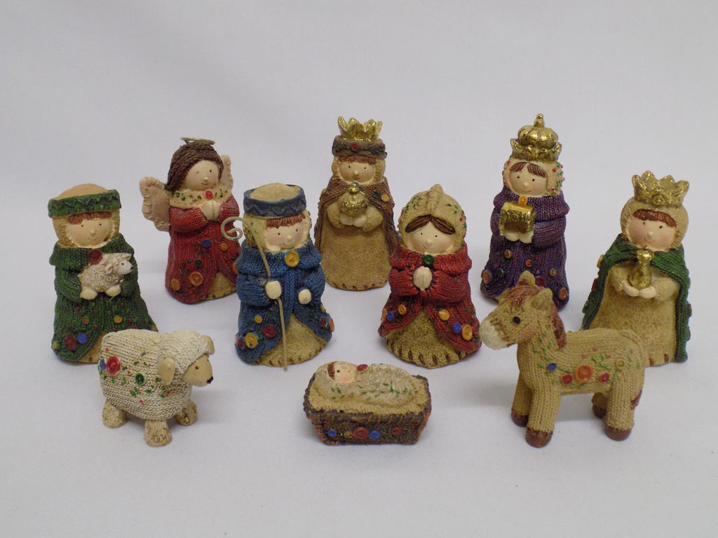 Colourful Knitted Nativity Set