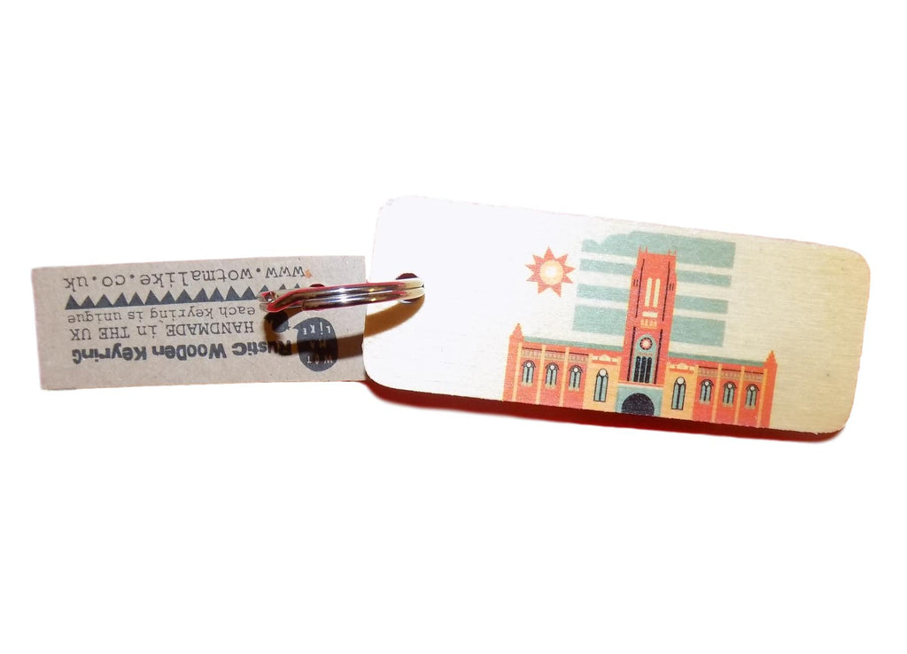 Liverpool Cathedral Rustic Wooden Keyring