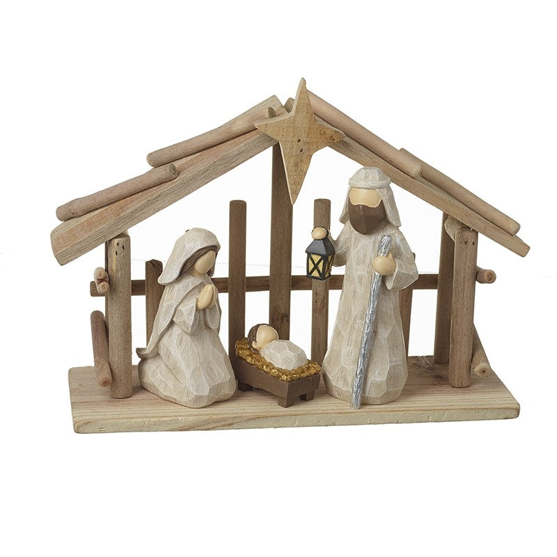 Wooden Nativity Stable Scene