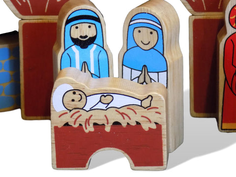 Wooden Nativity Building Blocks