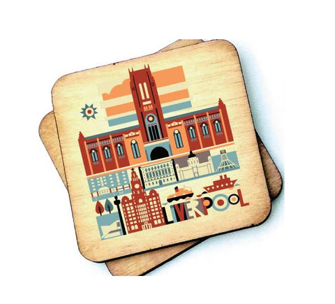 Liverpool Cathedral Rustic Wooden Coaster
