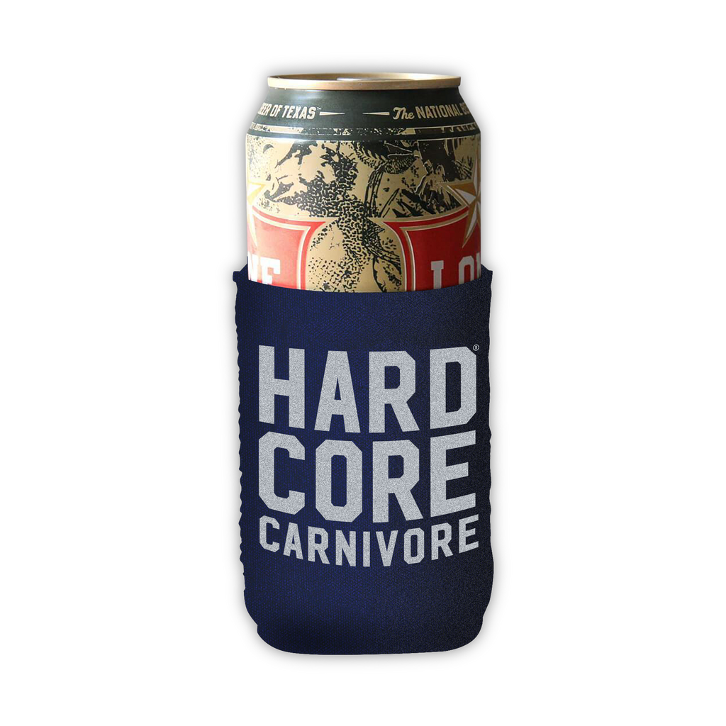 Hardcore Carnivore stacked logo beer can cooler