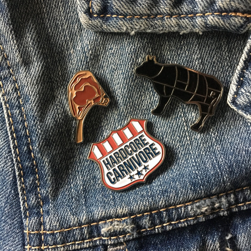 Tomahawk steak enamel pin
