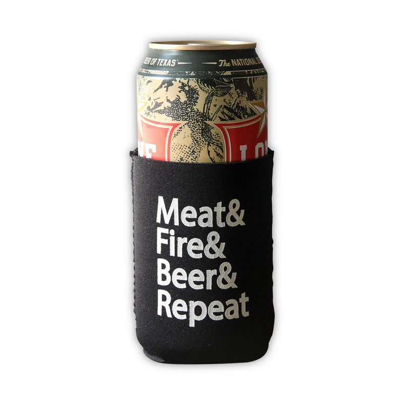 Meat & Fire & Beer & Repeat beer can cooler