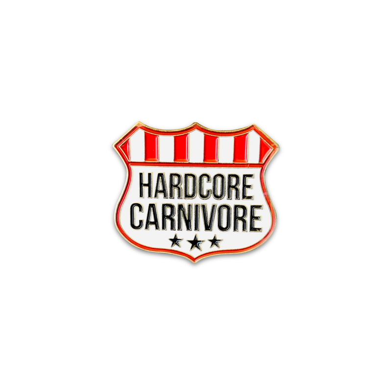 Hardcore Carnivore shield logo enamel pin