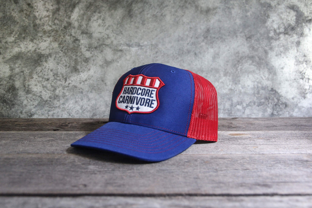 Hardcore Carnivore patriotic embroidered shield hat
