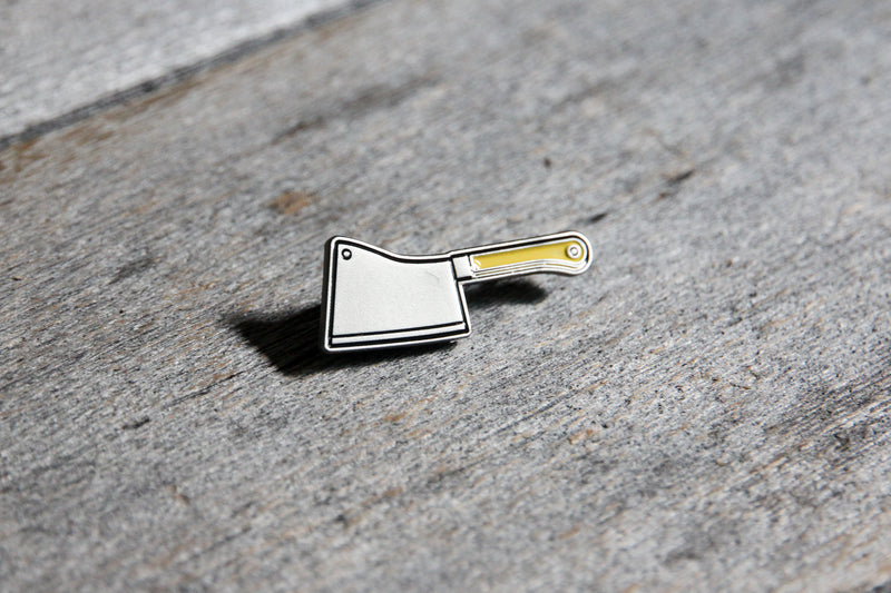 Butchers cleaver enamel pin