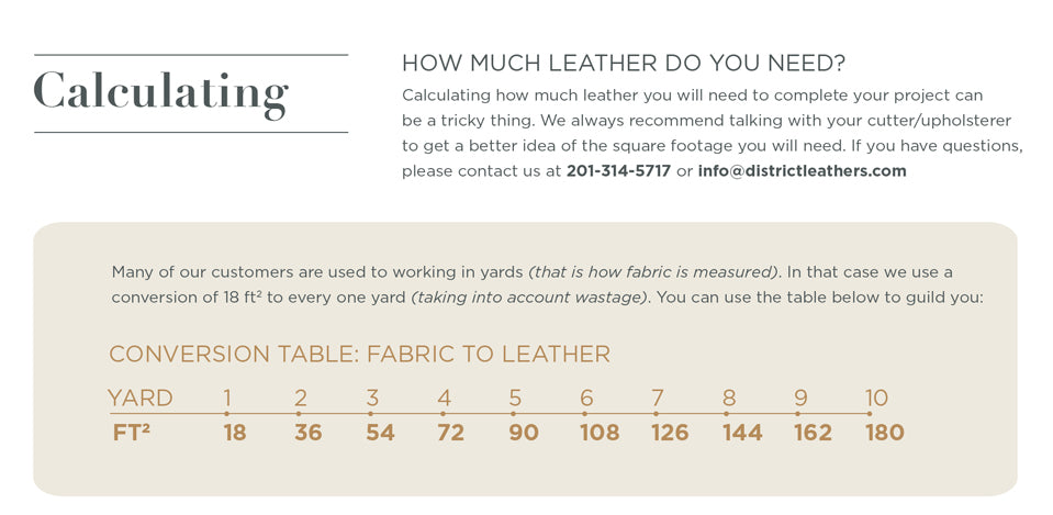 Calculating - Leather Buying Guide. Calculating how much leather you will need to complete your project can be a tricky thing. We always recommend talking with your cutter/upholsterer to get a better idea of the square footage you will need. If you have questions, please contact us at 201-314-5717 or info@districtleathers.com