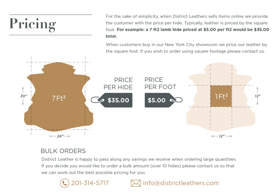 Pricing - Leather Buying Guide. For the sake of simplicity, when District Leathers sells items online we provide the customer with the price per hide. Typically, leather is priced by the square foot. For example: a 7 ft2 lamb hide priced at $5.00 per ft2 would be $35.00 total.