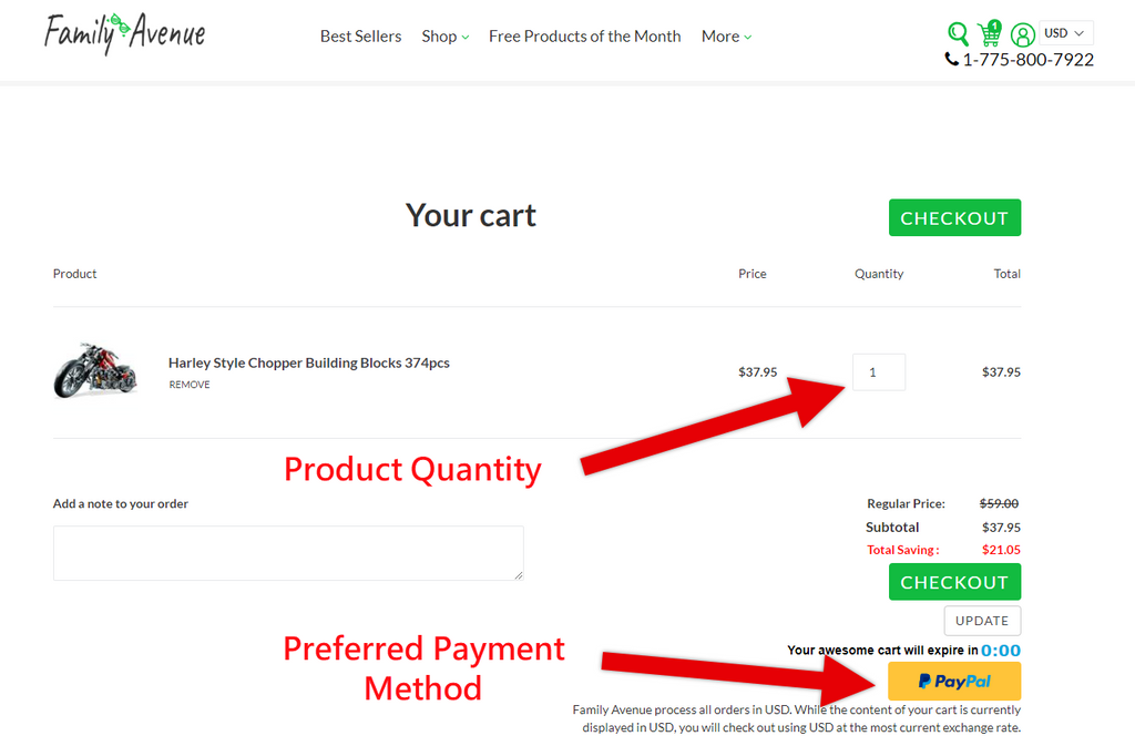 How to Order Cart Page