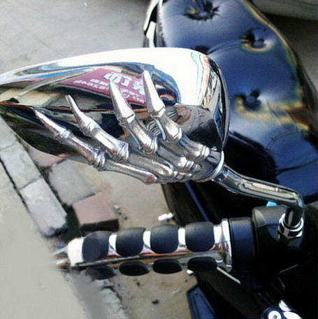 Skull Skeleton Hand Mirrors For Motorcycle Cruiser Chopper Scooter