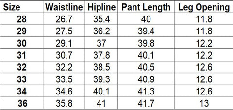 Biker Leather Pants Size Chart Inches Family Avenue