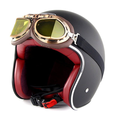Black Retro 3/4 SOMAN™ Helmet
