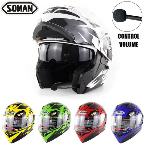 SOMAN Eagle-Eye Design Built-in Bluetooth Motorcycle Flip Up Helmet