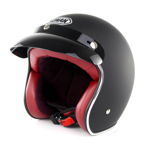 Open Face Black Retro Helmet