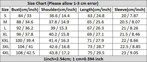 Black Panther Short Sleeve T-shirt Size Chart