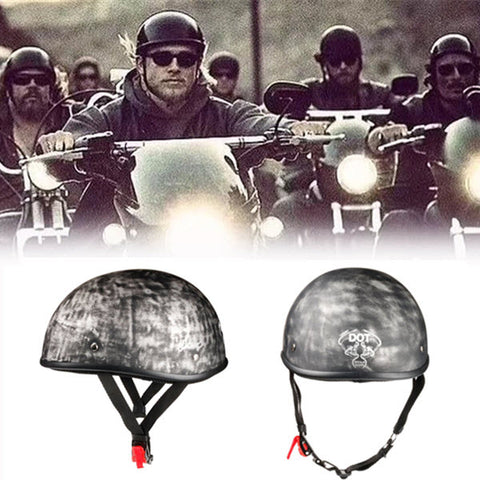 Smallest Lightest DOT Open Helmet - Rust Black / No Peak