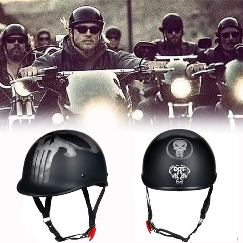 Smallest DOT Beanie Polo Helmet - Black Skull