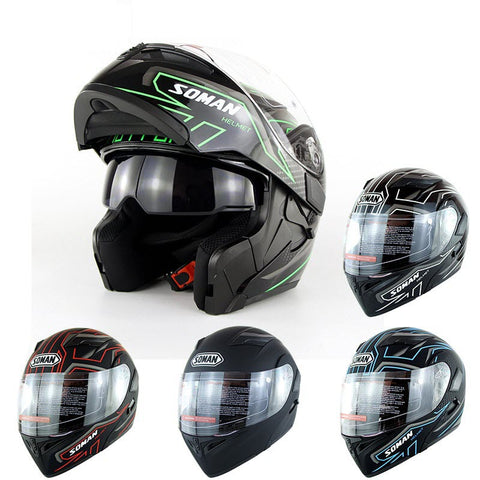 SOMAN Motorcycle Flip Up Helmet