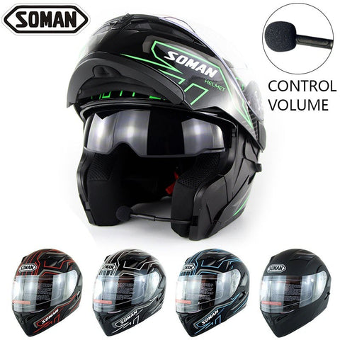 SOMAN Built-in Bluetooth Motorcycle Flip Up Helmet