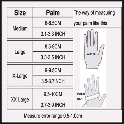 Touch Screen Motorcycle Gloves Size Chart