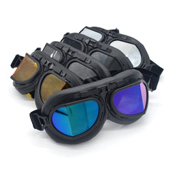 Black Steampunk Motorcycle Goggles