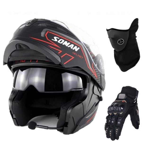 Bundle_SOMAN_Motorcycle_Flip-Up_Modular_Helmet_with_Bluetooth_headset_riding_gloves