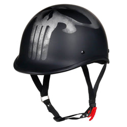 Strongest Lightest Matte Black Polo Style Open Helmet - Skull