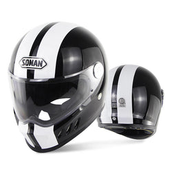 Supermotard Phoenix Racing Helmet - Black & White