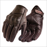 Family Avenue Premium Goatskin Brown Motorcycle Gloves